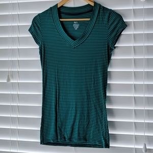 Mossimo green rayon striped stretch v-neck tee XS